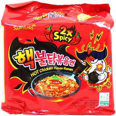 Samyang Hek Buldak Extra Spicy Roasted Chicken Ramen Nuclear Edition 5 PackHot Spicy Fire Noodle New spiciest Ramen Noodles Package, Spicy Ramen Noodles, Korean Noodles, Fried Ramen, Noodle Recipes, Spicy Recipes, Gourmet Recipes, Kimchi, Snacks Sains