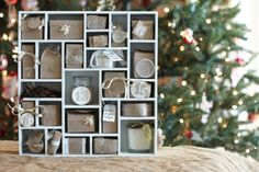 DIY wooden advent calendar ideas wood frame christmas decoration ideas