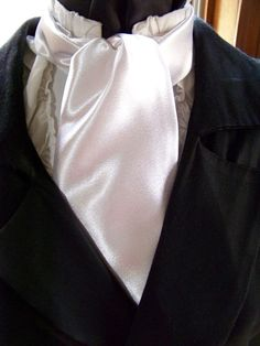 Cravat In White  or Ascot Mens Victorian Tie. by lavonsdesigns