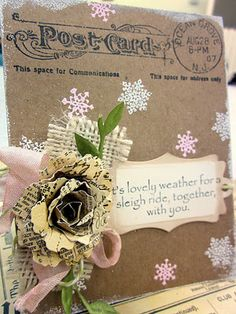"Shabby Vintage ""Post Card"" Winter Card...with handmade sheet paper rose."