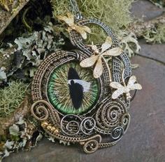 Gothic Steampunk 3 Dragonfly Green Cat Eye. $89.95, via Etsy.