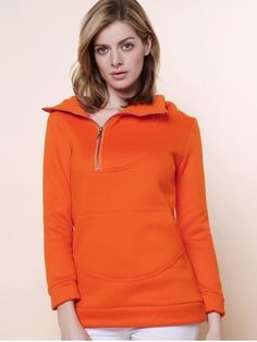 ORANGE Stylish Hooded Long Sleeve Zippered Solid Color Women's Hoodie L