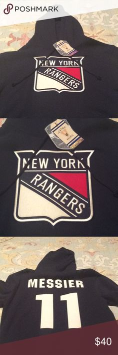 NWT New York Rangers Messier hooded sweatshirt. Brand-new with tags Messier navy jersey with felt Rangers logo and letters. Drawstring hooded sweatshirt with front pockets in size small. Old Time Hockey Shirts Sweatshirts & Hoodies