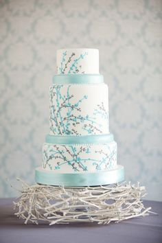 Aqua, grey and white wedding cake. Very elegant.