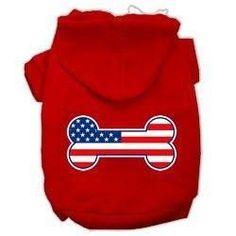Bone Shaped American Flag Dog Hoodie - Red