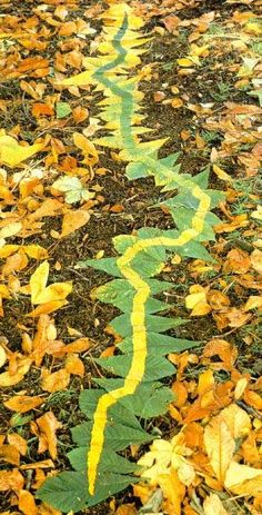 Andy Goldsworthy Line in Leaves -  inspiration for working with autumn natural materials ≈≈
