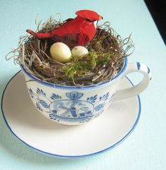 Tea Time Upcycled Vintage China Teacup OOAK Bird by happybdaytome, $14.95