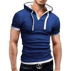 Men'S T Shirt 2018 And leisure Hooded Sling Short-Sleeved Tees Male Camisa Masculina Slim Homme large size Short T Shirt, Short Sleeve Hoodie, Short Sleeves, Sleeveless Hoodie, Long Sleeve, Jeans Und Vans, Raglan Shirts, Shirt Hoodies, Hooded Sweatshirts