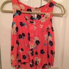Tank top Button up orange and blue, tan, and teal flower tank top. Longer in the back and shorter in the front. Loose tank top. Kirra Tops Tank Tops