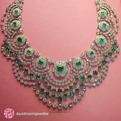 Re-post from @davidmorrisjeweller Our Colombian emerald and white diamond Empress necklace