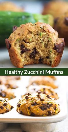 Healthy Zucchini Muffins are made with honey whole wheat flour banana and chocolate chips Moist fluffy and kids love them too This healthy zucchini muffin recipe makes the perfect lunch box treat via wellplated Pumpkin Zucchini Muffins, Zucchini Desserts, Zucchini Muffin Recipes, Chocolate Zucchini Muffins, Zuchinni Recipes, Healthy Muffin Recipes, Healthy Muffins, Healthy Baking, Banana Zucchini Chocolate Chip Muffins