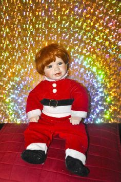 Nicholas Santa's Little Helper Doll by Hamilton Collection Heritage Dolls Used Christmas Deals, Christmas Holidays, Clothing Items, Red Clothing, Santa's Little Helper, Hamilton, Ronald Mcdonald, Christmas Clothing, Dolls