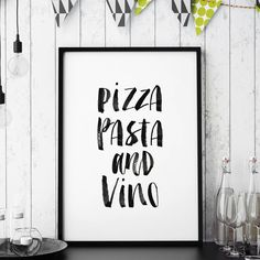 Pizza, pasta and vino http://www.notonthehighstreet.com/themotivatedtype/product/pizza-pasta-and-vino-watercolour-typography-print Limited edition art print, order now!