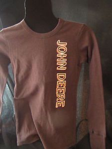 John-Deere-Girls-Thermal-Long-Sleeves-Shirt-Pink-Brown-Cotton-Blend-SZ-S