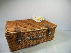 Vintage OverSized Wicker Weave Suitcase with by DivineOrders