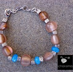 Brown glass and blue agate bracelet and earrings