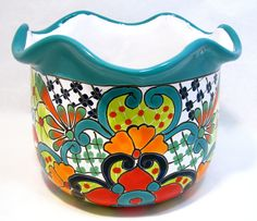 "TALAVERA TUB FLOWER POT PLANTER MEASURES: 6"" TALL X 16""WIDE X 9"" HAND PAINTED MADE IN MEXICO (SIZE AND COLOR MY VARY) ITEM THAT YOU SEE IS THE ONE YOU WILL RECEIVE THERE MAY BE SOME UNEVEN AREAS OF TH"