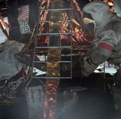 Apollo 17 astronaut Gene Cernan, in a dirty spacesuit, works at the lunar module, December 13, 1972. (NASA)