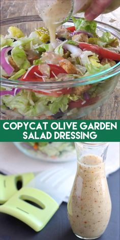 This copycat Olive Garden salad dressing recipe is as close as it gets to the real deal, plus there is no high fructose corn syrup, and it tastes amazing! Olive Garden Salad, Olive Garden Recipes, Olive Salad, Olive Garden Food, Olive Garden Italian Dressing, Salad Dressing Recipes, Pasta Salad Dressings, Dressing For Pasta Salad, Healthy Recipes