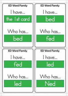 Word Families - CVC & CCVC I Have Who Has Game Cards. Play with just one set or combine them for some group-fun reading!