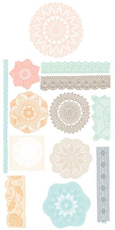20 Doily laces clipart . Digital clipart elements for Personal and Commercial use. (paper crafts, card making, scrapbooking)