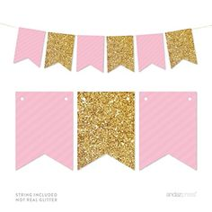 Pink and Gold Banner free printable. Print for a baby shower, bridal shower…