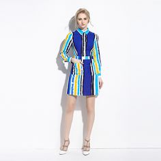 Bright Color Striped Dress 2016 Fashion Long Sleeve Shirt Dress Fit and Flare Vestidos Mujer 2016