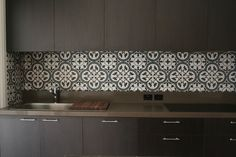 Contemporary Kitchen / Moroccan Tiled Splash-back / Gray / Greige / Kitchen Splashback Tiles, Bathroom Floor Tiles, Kitchen Cabinets, Spanish Kitchen, Kitchen Modern, Feature Tiles, Kitchen Design, Interior Decorating, Kitchens