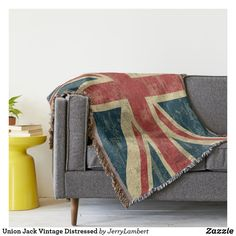 Union Jack British Flag with Cheetah Print Throw Blanket