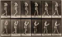 Walking, taking off hat #muybridge