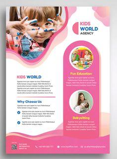 Child Kids Promo Flyer by uicreativenet on Envato Elements - Graphic Files Flyer Layout, Brochure Layout, Flyer Design Templates, Flyer Template, Broucher Design, Design Layouts, Pamphlet Design, Booklet Design, Promo Flyer