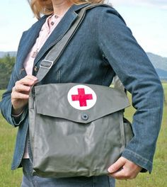 Vintage Army Medic Bag  Ready for Upcyle as a by leapinglemming, $24.95