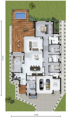 Here's a non-fancy 4 bedroom home with study nook and triple car garage which would fit on a reasonably narrow block of land. Here's a non-fancy 4 bedroom home with study nook and triple car garage which would fit on a reasonably narrow block of land. Sims House Plans, Ranch House Plans, Dream House Plans, Modern House Plans, My Dream Home, Dream Houses, Modern Garage, Floor Plans For Houses, Ranch Floor Plans