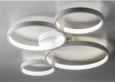 A Semi-flush ceiling light consisting of four abstract light x 50 watt LED 3000 Lm 3000 Kelvin Height: Length: Width: Dimmable via phase dimmer Semi Flush Ceiling Lights, Ceiling Lighting, Light Ring, Bedroom Ceiling, Kitchen Lighting, Plates, Led, Contemporary, Abstract