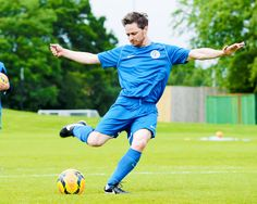 James McAvoy, caught at the most impossibly perfect moment while practicing for Soccer Aid 2014