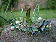 Absinthe Fairy Wing Tiara by SparkleyJem on Etsy (for Summer) Fairy Crown, Flower Crown, Absinthe Fairy, Kobold, Fairy Clothes, Circlet, Fairy Wings, Tiaras And Crowns, Faeries