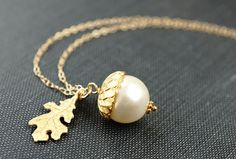Necklace Acorn Necklace Gold Necklace Pearl by storygirlcreations