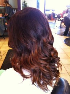 fall ombre hair - brunette with red tips