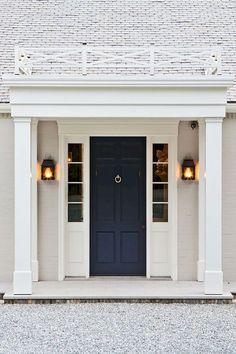59 ideas for navy front door colors house Door Design, Exterior Design, Interior And Exterior, Dutch Colonial Exterior, Colonial Front Door, Interior Ideas, The Doors, Entry Doors, Portico Entry
