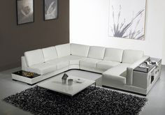Modern White Leather Sectional Sofa w/ End Table & Storage Shelves