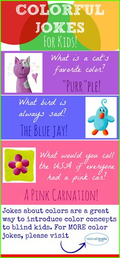 Silly jokes about colors can help kids learn important color concepts.