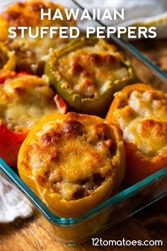 Hawaiian Stuffed Peppers For those who love pineapple on their pizza. Healthy Summer Recipes, Healthy Dessert Recipes, Dinner Recipes, Pork Recipes, Cooking Recipes, Potato Recipes, Recipies, Hawaiian Sweet Rolls, Vegetarian Main Dishes