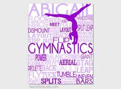 Gymnastics Typography Art Print Perfect for Girl's Room by twenty3stars, $10.00