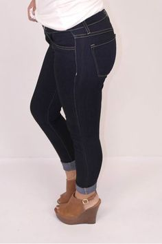 Picture of Flying Monkey Skinny Roll Up Jeans (dark wash)