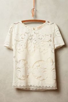 Champagne & Strawberry Lace Opacity Tee #anthrofave #anthropologie