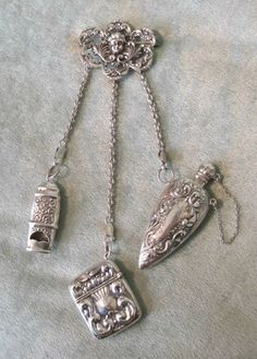 Repro Sterling Silver Cherub Face Chatelaine Pin 3 Chains w Whistle Box Perfume | eBay
