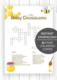 ❤️ BEST Baby Shower Games ❤️ Bumble Bee Edition ♛ Baby Crossword 1 of the 12 Baby Shower Games. Cute, Fun & Entertaining