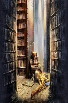 """Book of Romance. A girl reading the book about love and joy in a misty library. By People's Republic of China. """"Make thy books thy companions; I Love Books, Books To Read, My Books, Michel De Montaigne, Girl Reading, Reading Quotes, Reading Books, Reading Art, Book Nooks"""