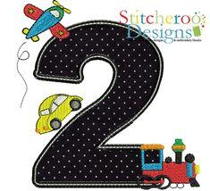 Planes Trains & Car Birthday 2 applique embroidery design.