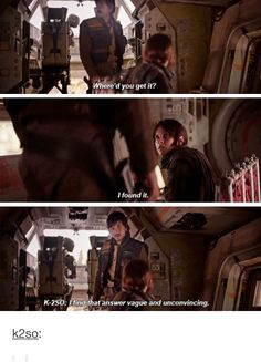 Jyn, Cassian, and K-2SO / Rogue One / Star Wars / RebelCaptain